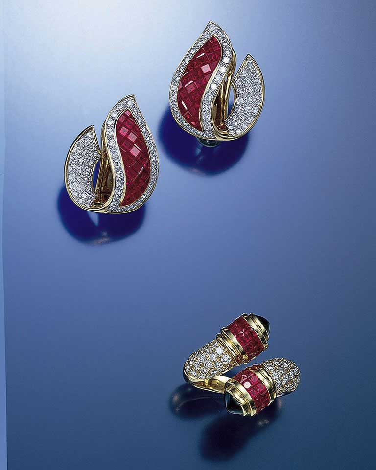 14a8cf4ed Leaf-shaped earrings of invisibly set rubies banded with diamonds embody  new techniques of gem cutting to heighten the beauty of the stones, ...